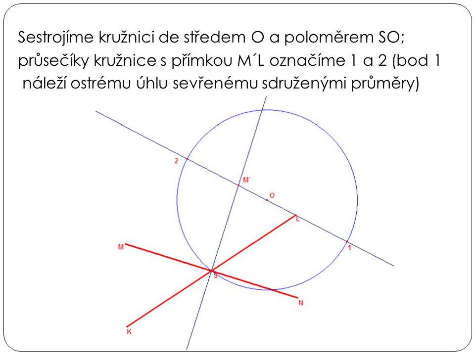 Sestrojíme kružnici de středem O a poloměrem SO; průsečíky kružnice s přímkou M´L označíme 1 a 2 (bod 1 náleží ostrému úhlu sevřenému sdruženými průměry)