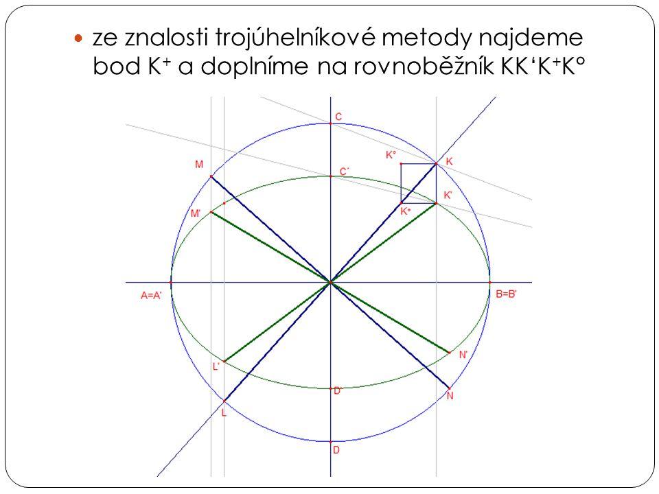 ze znalosti trojúhelníkové metody najdeme bod K+ a doplníme na rovnoběžník KK'K+K°