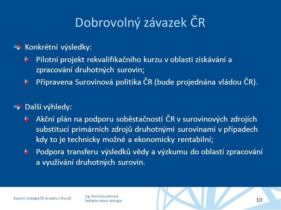 Dobrovolný závazek ČR Konkrétní výsledky: