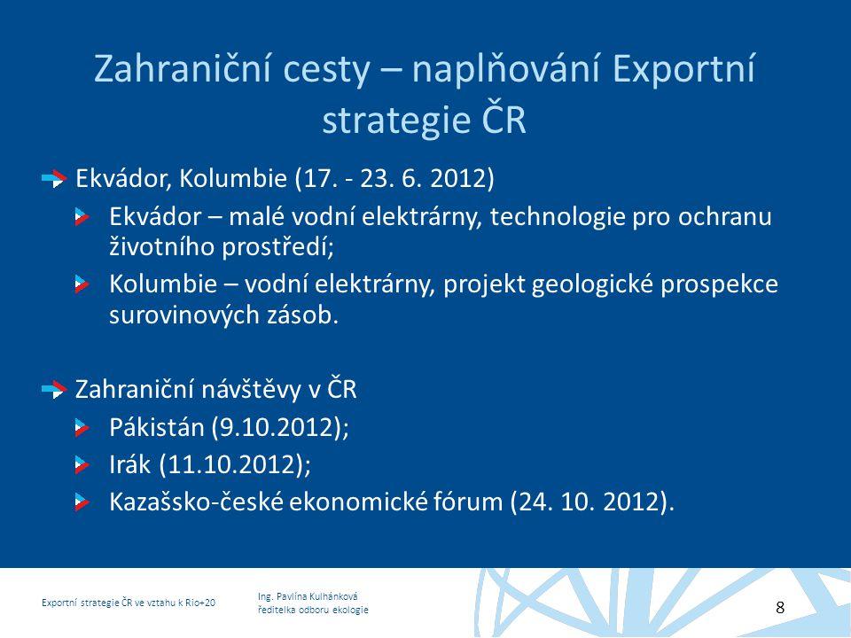 Zahraniční cesty – naplňování Exportní strategie ČR