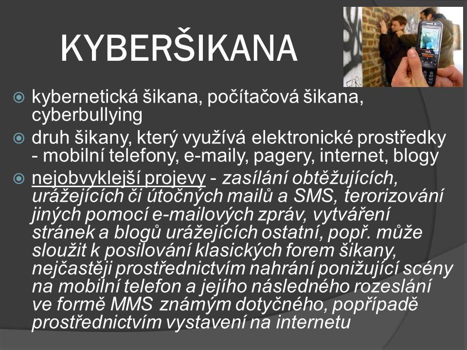 KYBERŠIKANA kybernetická šikana, počítačová šikana, cyberbullying