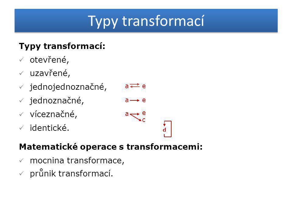 Typy transformací Typy transformací: otevřené, uzavřené,