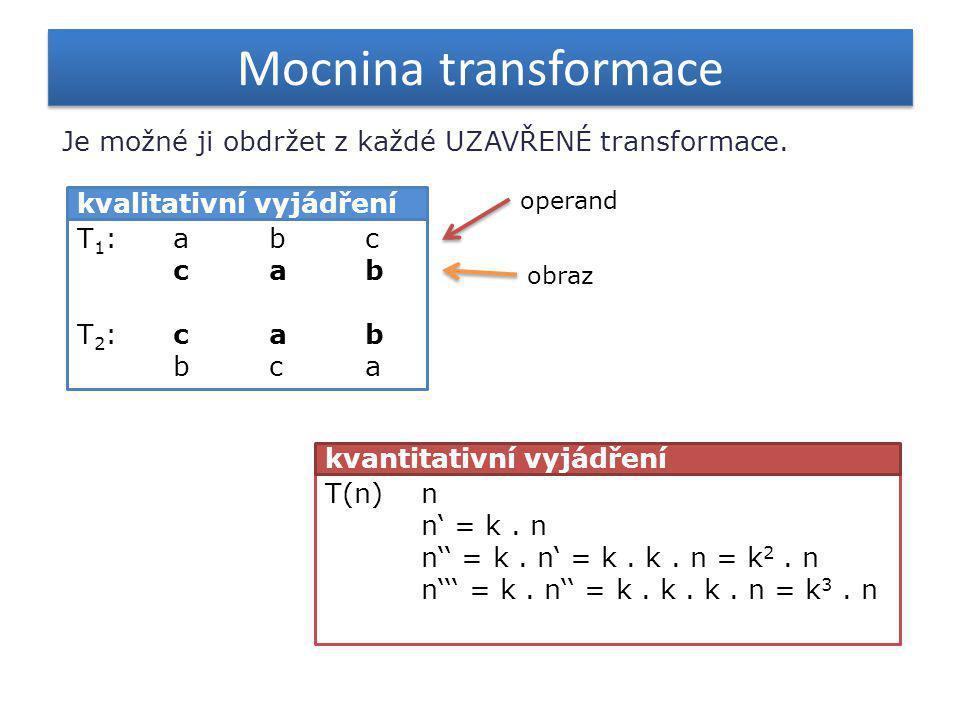 Mocnina transformace Je možné ji obdržet z každé UZAVŘENÉ transformace. operand. kvalitativní vyjádření.
