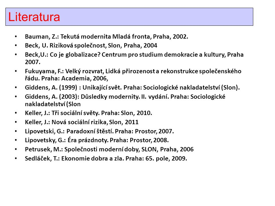 Literatura Bauman, Z.: Tekutá modernita Mladá fronta, Praha, 2002.