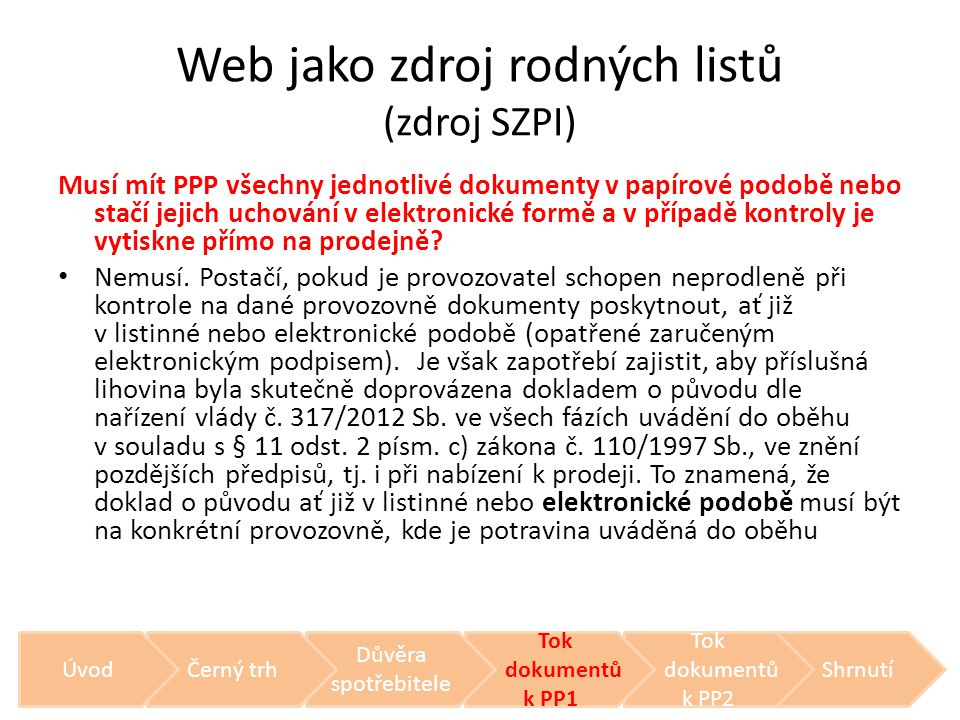 Web jako zdroj rodných listů (zdroj SZPI)