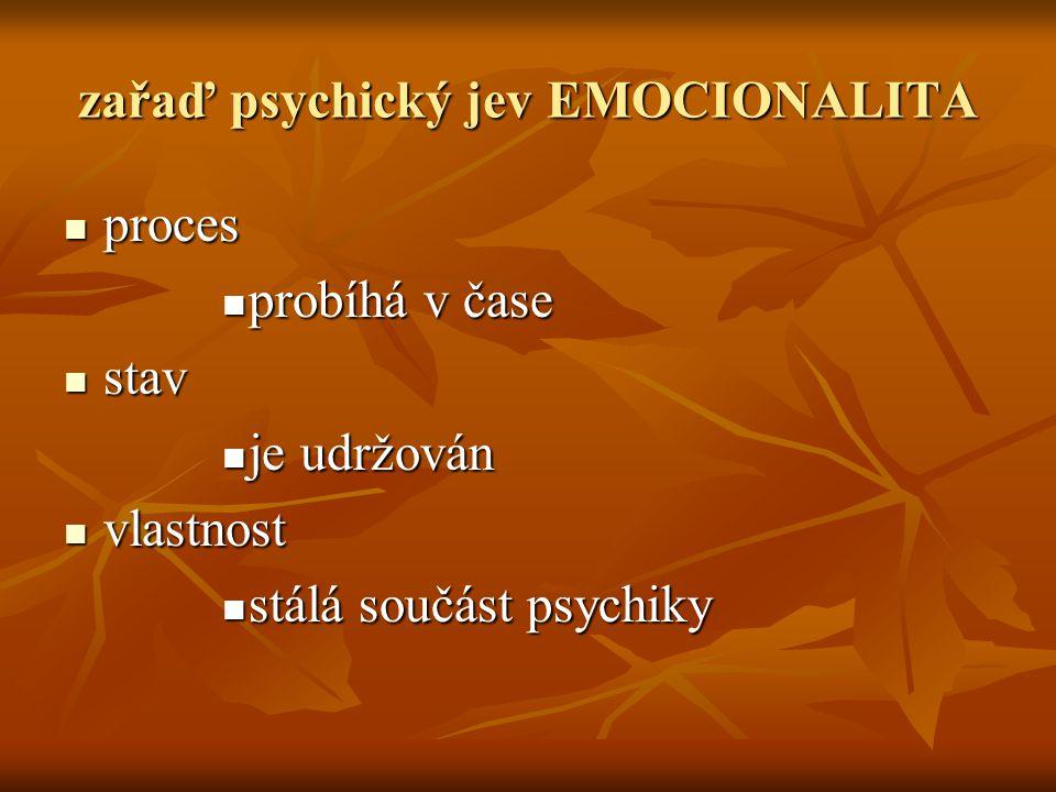 zařaď psychický jev EMOCIONALITA