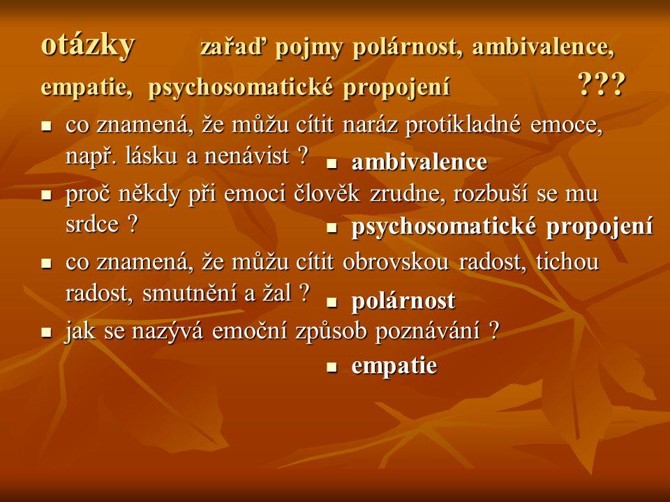 otázky zařaď pojmy polárnost, ambivalence, empatie, psychosomatické propojení