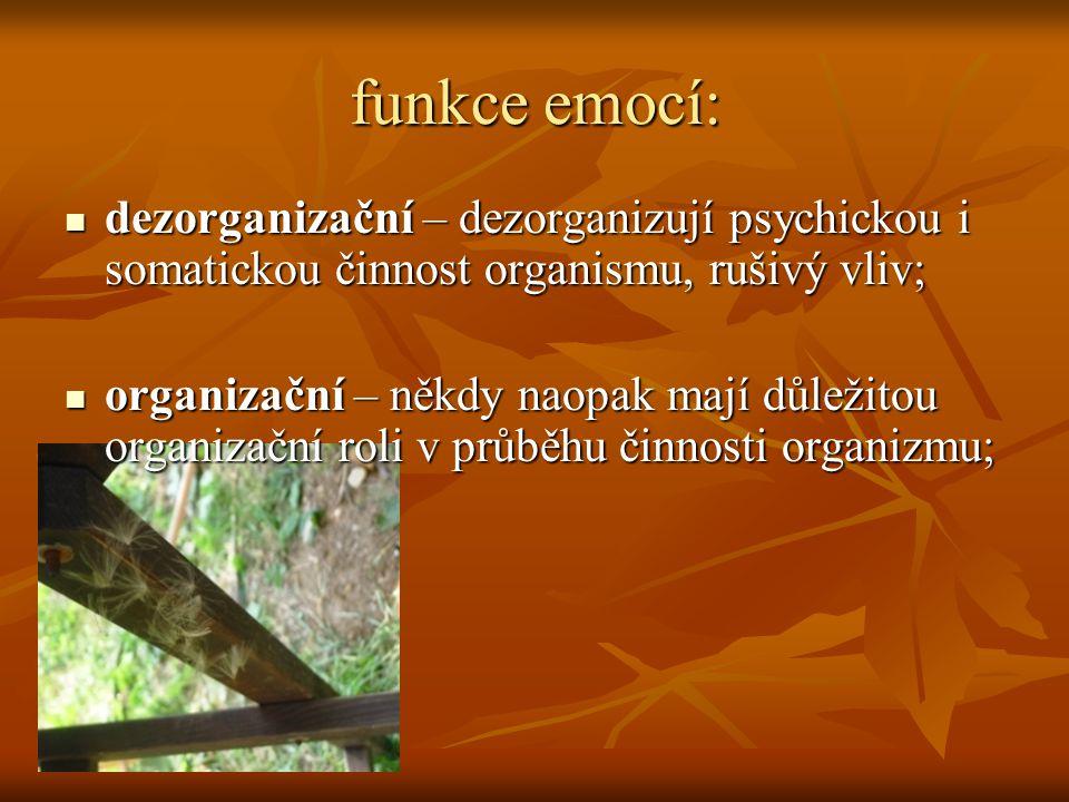 funkce emocí: dezorganizační – dezorganizují psychickou i somatickou činnost organismu, rušivý vliv;