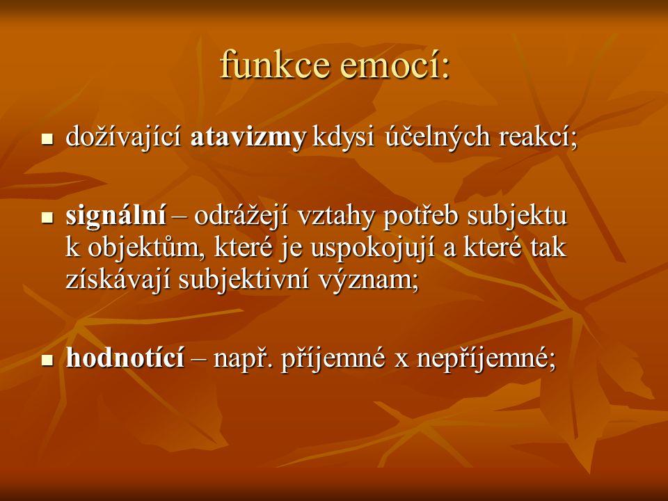 funkce emocí: dožívající atavizmy kdysi účelných reakcí;
