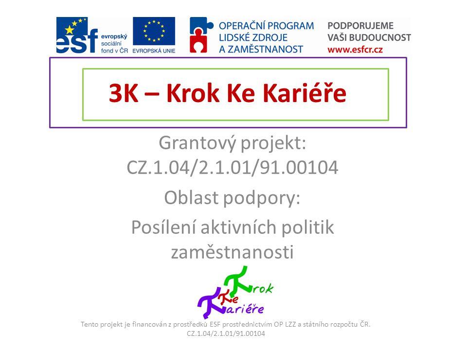 3K – Krok Ke Kariéře Grantový projekt: CZ.1.04/2.1.01/91.00104
