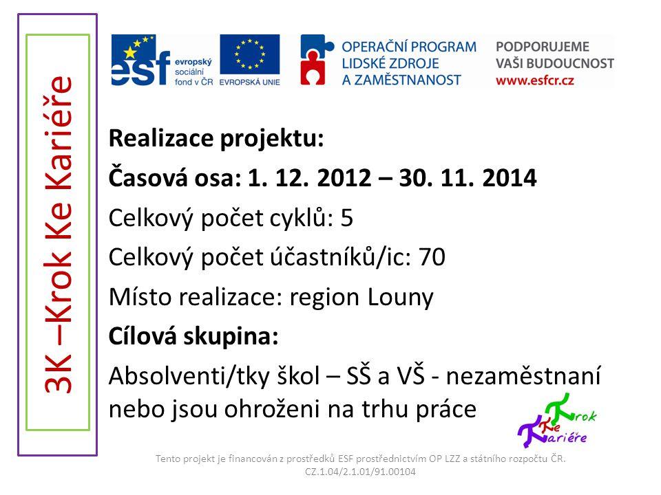 Realizace projektu: Časová osa: 1. 12. 2012 – 30. 11