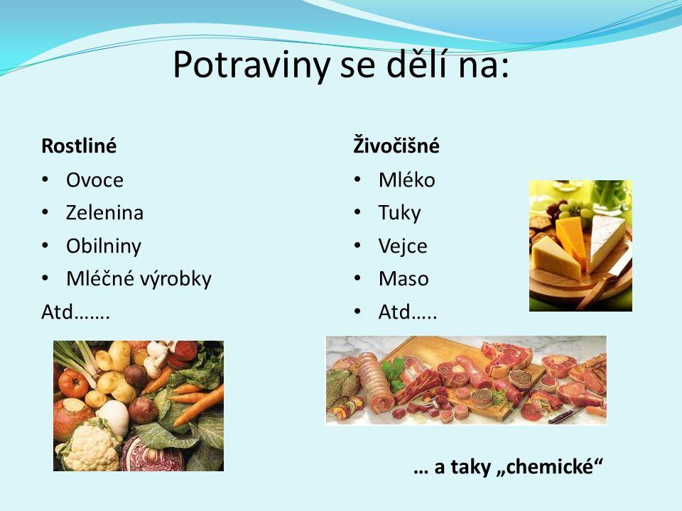Potraviny se dělí na: Rostliné Živočišné Ovoce Zelenina Obilniny