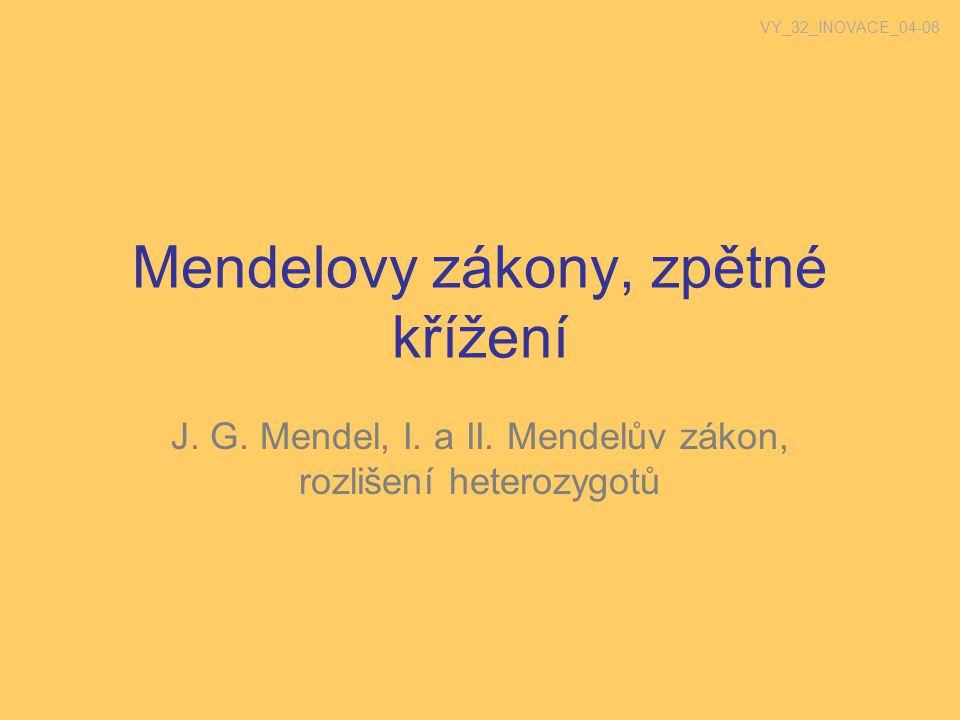 Mendelovy zákony, zpětné křížení