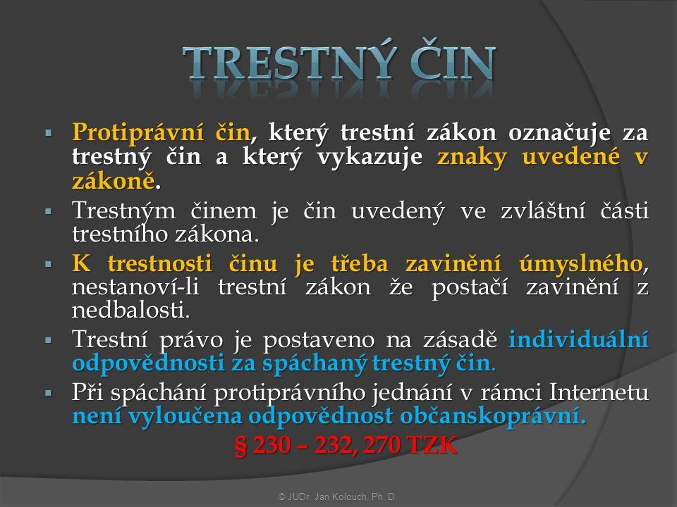 Trestný čin Protiprávní čin, který trestní zákon označuje za trestný čin a který vykazuje znaky uvedené v zákoně.