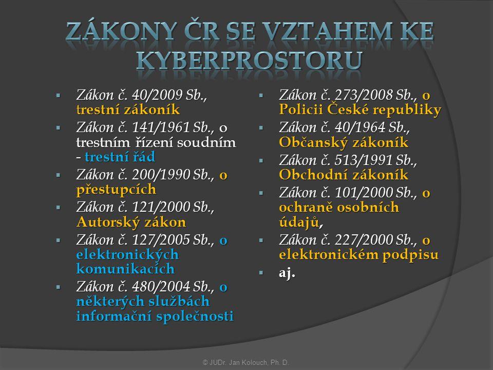 Zákony ČR se vztahem ke Kyberprostoru