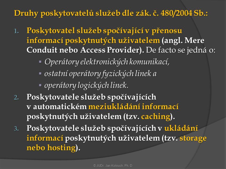 Druhy poskytovatelů služeb dle zák. č. 480/2004 Sb.: