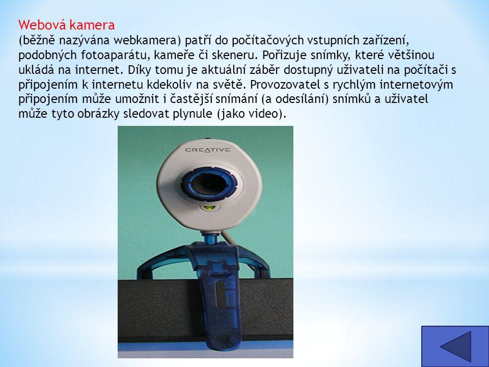 Webová kamera (běžně nazývána webkamera) patří do počítačových vstupních zařízení, podobných fotoaparátu, kameře či skeneru. Pořizuje snímky, které většinou ukládá na internet. Díky tomu je aktuální záběr dostupný uživateli na počítači s připojením k internetu kdekoliv na světě. Provozovatel s rychlým internetovým připojením může umožnit i častější snímání (a odesílání) snímků a uživatel může tyto obrázky sledovat plynule (jako video).