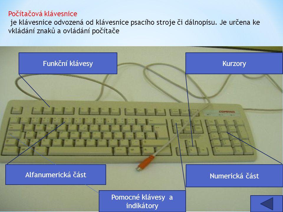 Pomocné klávesy a indikátory