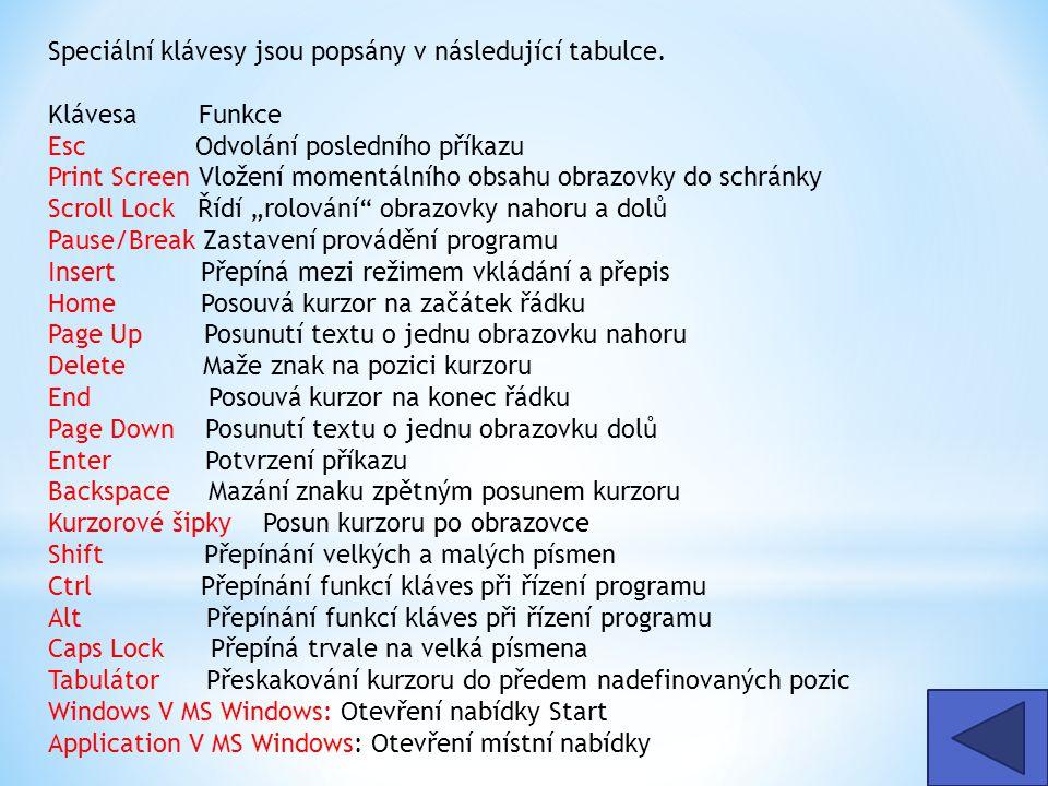 Speciální klávesy jsou popsány v následující tabulce.