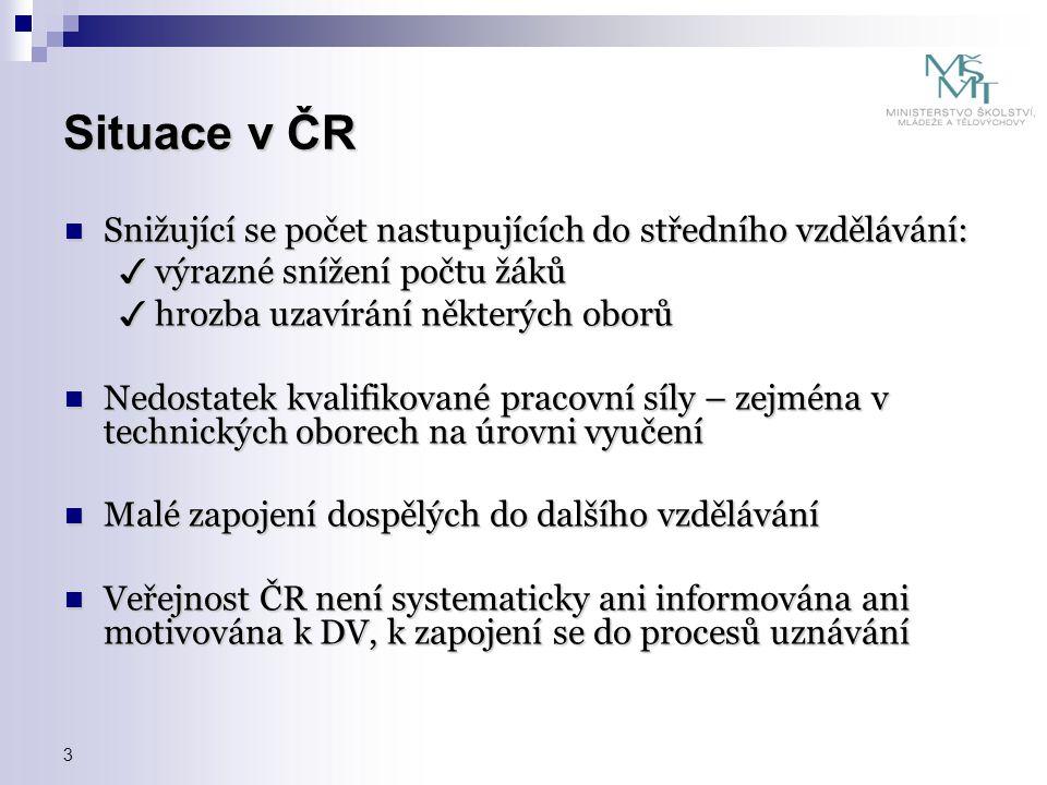 Situace v ČR Snižující se počet nastupujících do středního vzdělávání: