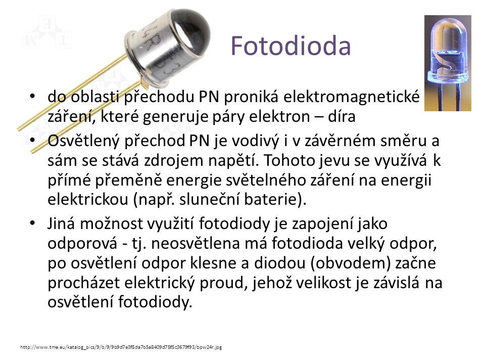 Fotodioda do oblasti přechodu PN proniká elektromagnetické záření, které generuje páry elektron – díra.