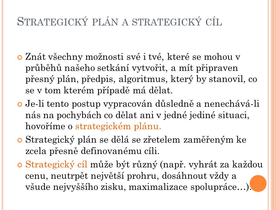 Strategický plán a strategický cíl