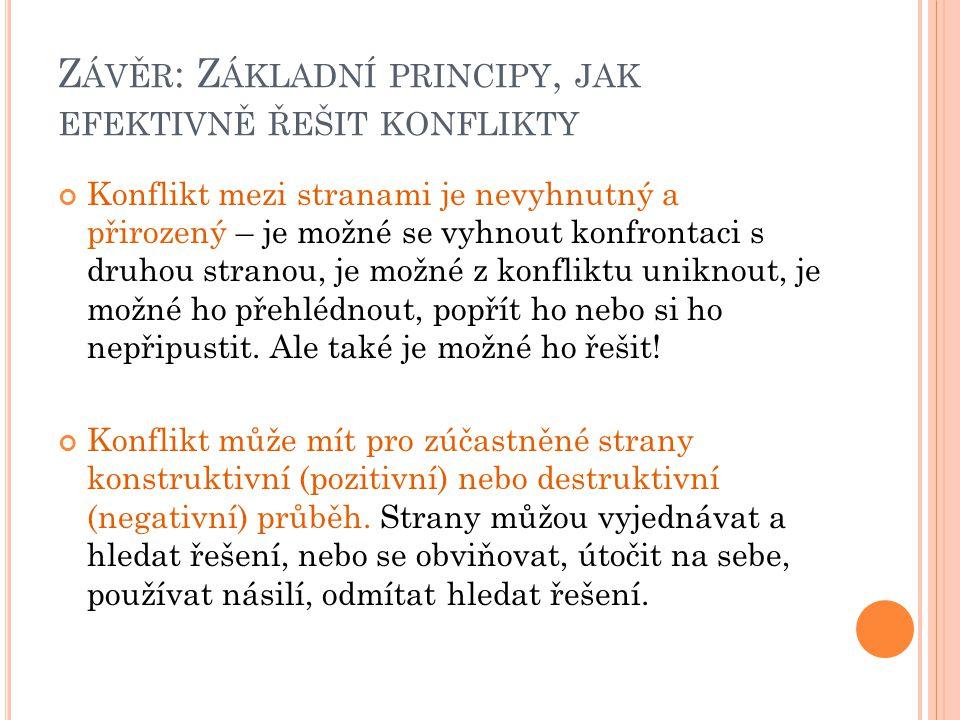 Závěr: Základní principy, jak efektivně řešit konflikty