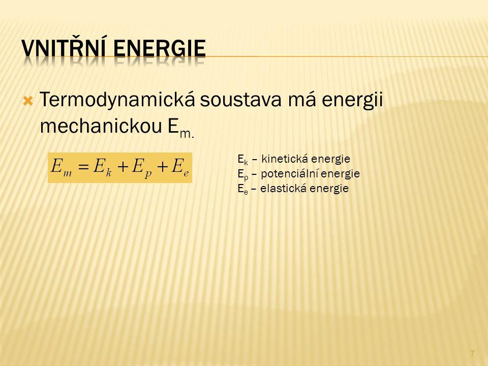 Vnitřní Energie Termodynamická soustava má energii mechanickou Em.