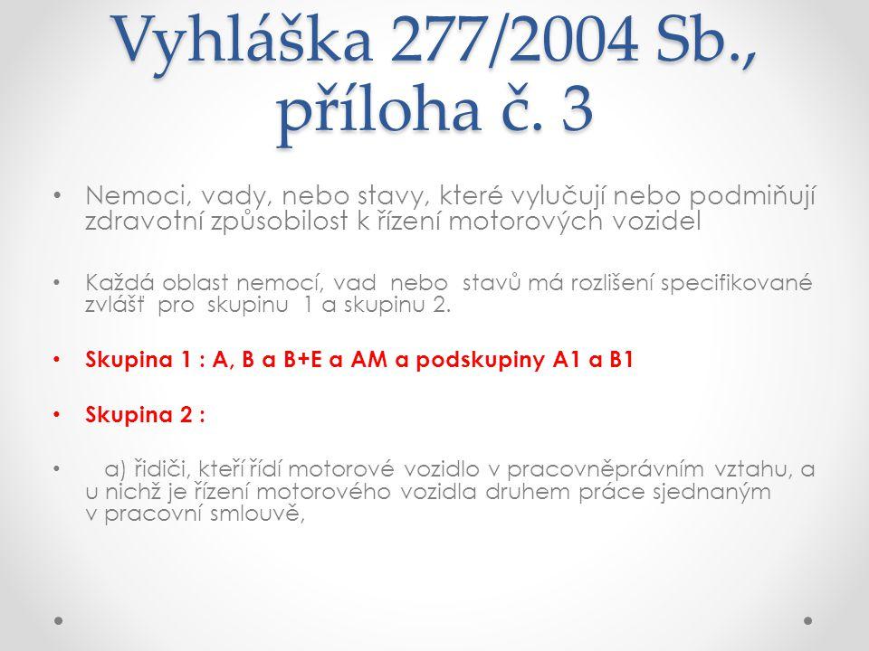Vyhláška 277/2004 Sb., příloha č. 3 Nemoci, vady, nebo stavy, které vylučují nebo podmiňují zdravotní způsobilost k řízení motorových vozidel.