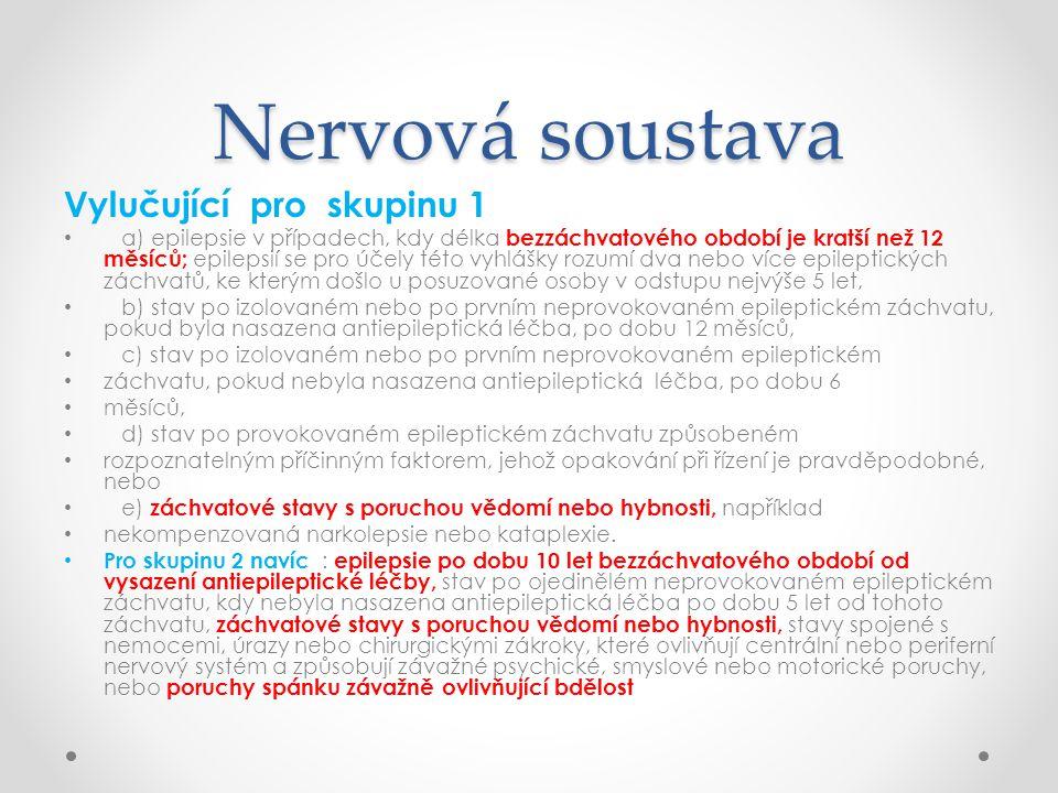Nervová soustava Vylučující pro skupinu 1
