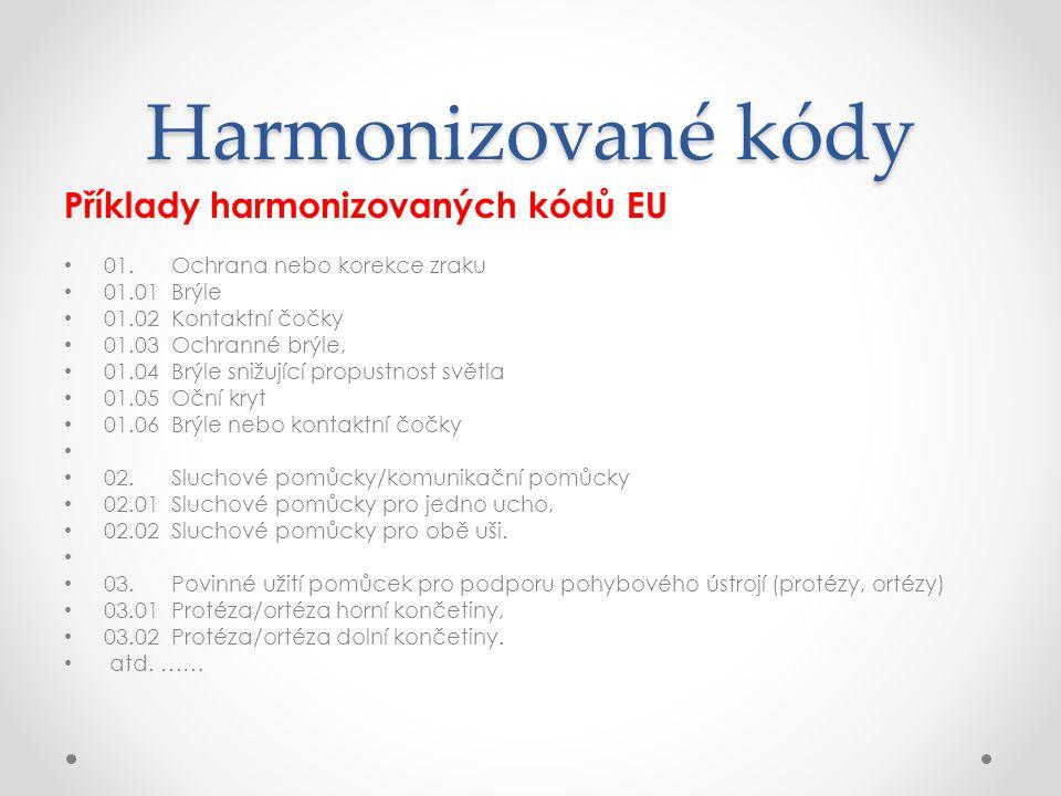 Harmonizované kódy Příklady harmonizovaných kódů EU