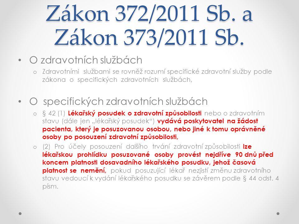 Zákon 372/2011 Sb. a Zákon 373/2011 Sb. O zdravotních službách