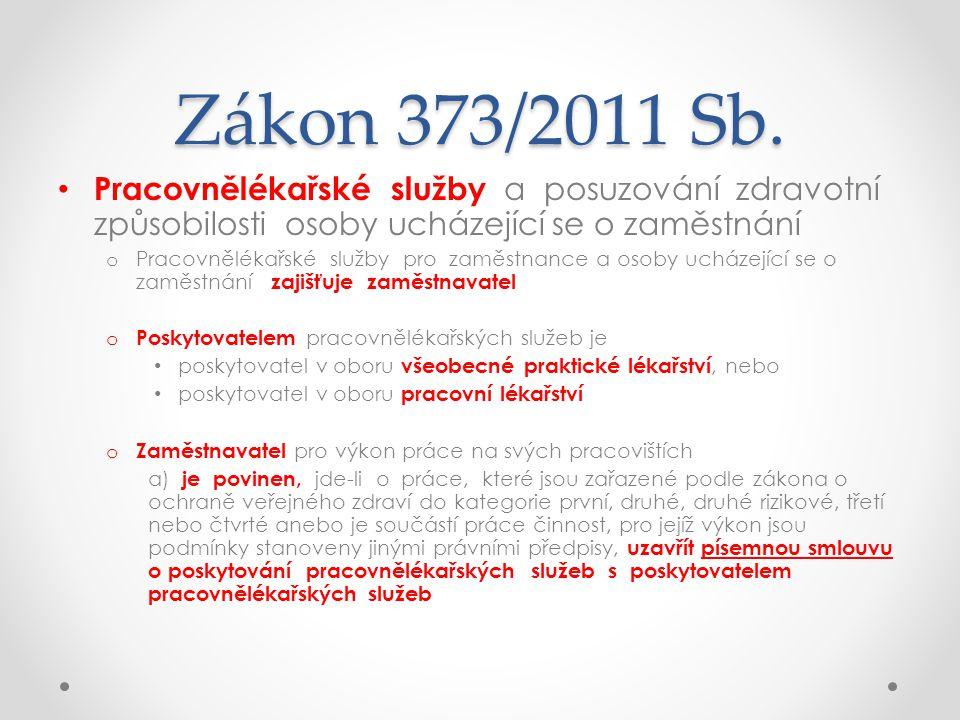 Zákon 373/2011 Sb. Pracovnělékařské služby a posuzování zdravotní způsobilosti osoby ucházející se o zaměstnání.