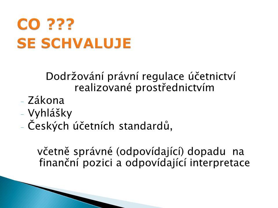 Dodržování právní regulace účetnictví realizované prostřednictvím