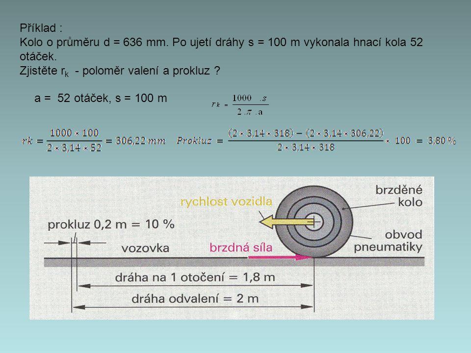 Příklad : Kolo o průměru d = 636 mm. Po ujetí dráhy s = 100 m vykonala hnací kola 52 otáček. Zjistěte rk - poloměr valení a prokluz