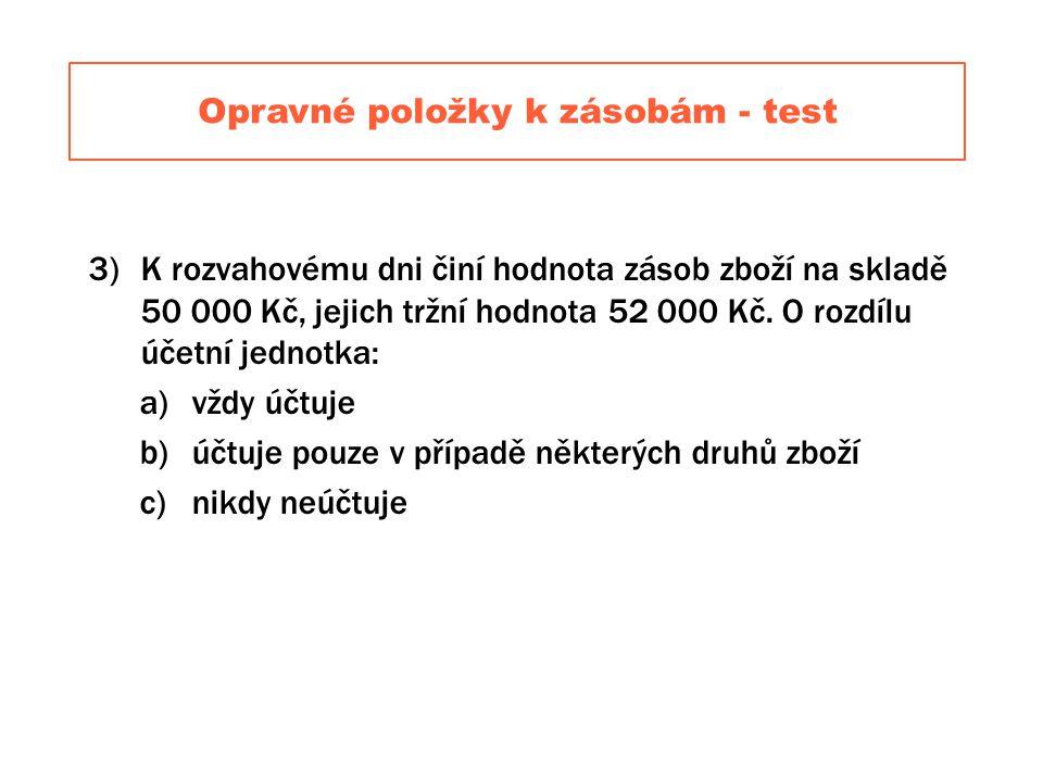 Opravné položky k zásobám - test