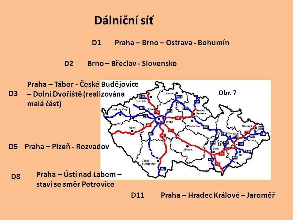 Dálniční síť D1 Praha – Brno – Ostrava - Bohumín D2