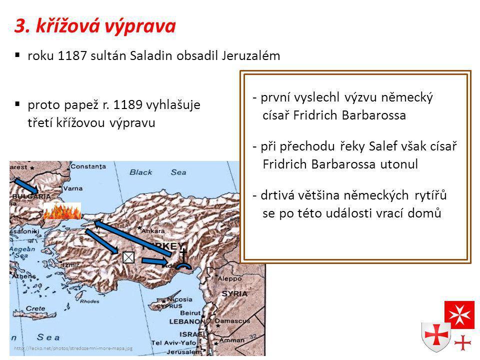 3. křížová výprava roku 1187 sultán Saladin obsadil Jeruzalém