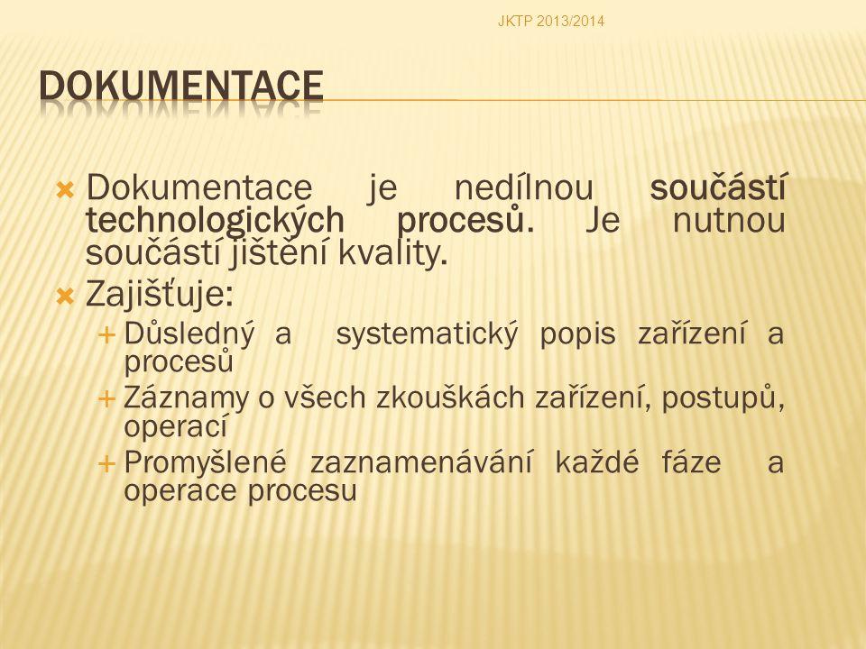 JKTP 2013/2014 Dokumentace. Dokumentace je nedílnou součástí technologických procesů. Je nutnou součástí jištění kvality.