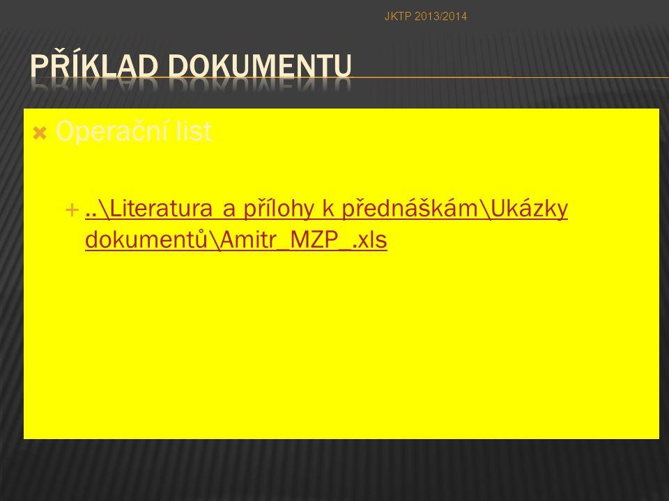 Příklad dokumentu Operační list