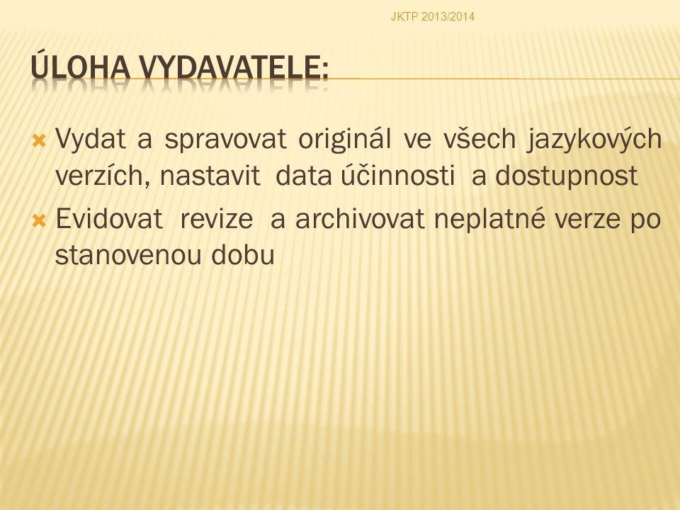 JKTP 2013/2014 Úloha vydavatele: Vydat a spravovat originál ve všech jazykových verzích, nastavit data účinnosti a dostupnost.