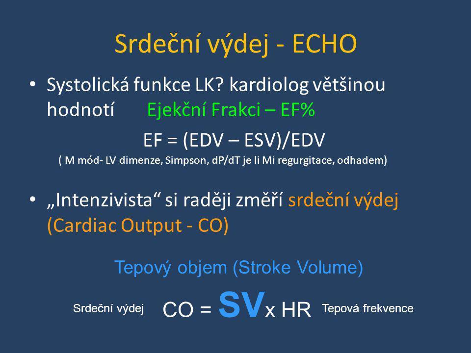 Srdeční výdej - ECHO Systolická funkce LK kardiolog většinou hodnotí Ejekční Frakci – EF% EF = (EDV – ESV)/EDV.