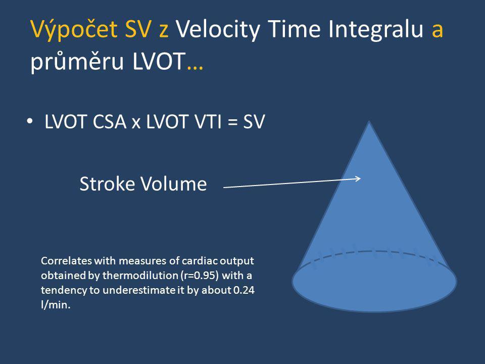 Výpočet SV z Velocity Time Integralu a průměru LVOT…