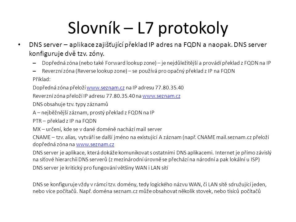 Slovník – L7 protokoly DNS server – aplikace zajišťující překlad IP adres na FQDN a naopak. DNS server konfiguruje dvě tzv. zóny.