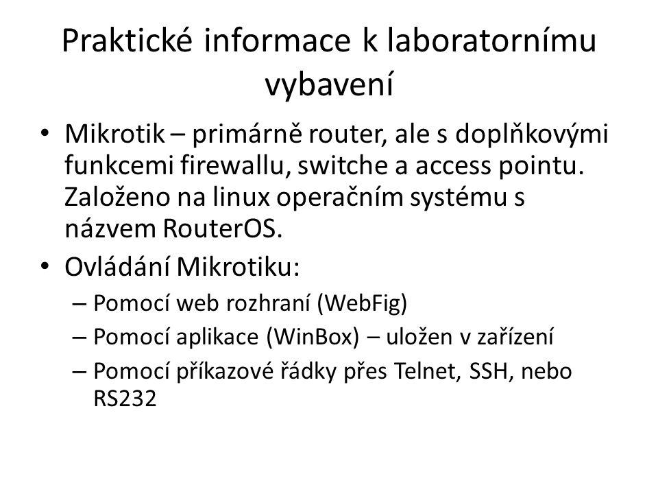 Praktické informace k laboratornímu vybavení
