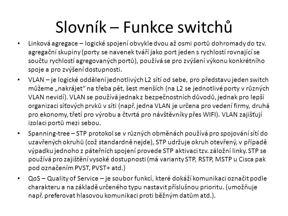 Slovník – Funkce switchů