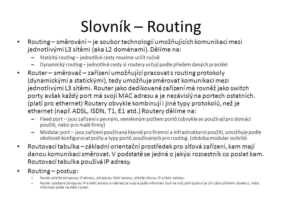 Slovník – Routing Routing – směrování – je soubor technologií umožňujících komunikaci mezi jednotlivými L3 sítěmi (aka L2 doménami). Dělíme na: