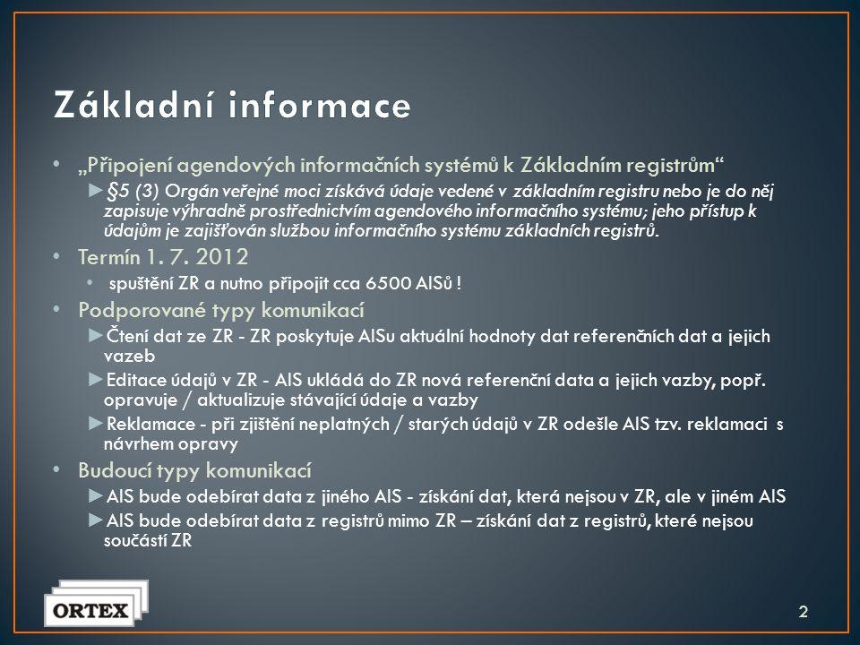 """Základní informace """"Připojení agendových informačních systémů k Základním registrům"""