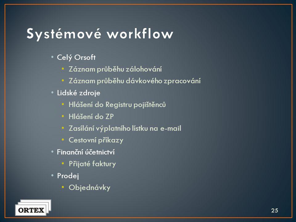 Systémové workflow Celý Orsoft Záznam průběhu zálohování