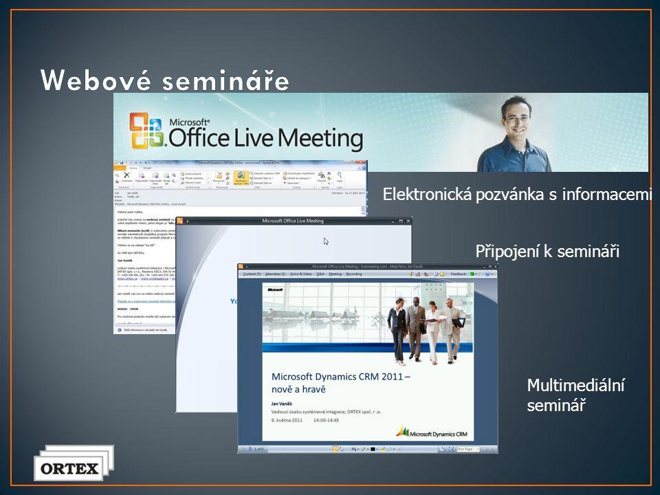 Webové semináře Elektronická pozvánka s informacemi
